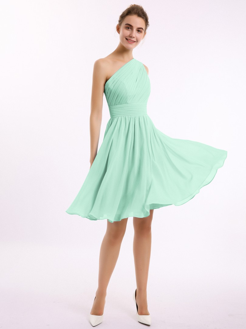 A-line Chiffon Stormy Zipper Ruched, Pleated Knee-length One Shoulder Sleeveless New Arrivals