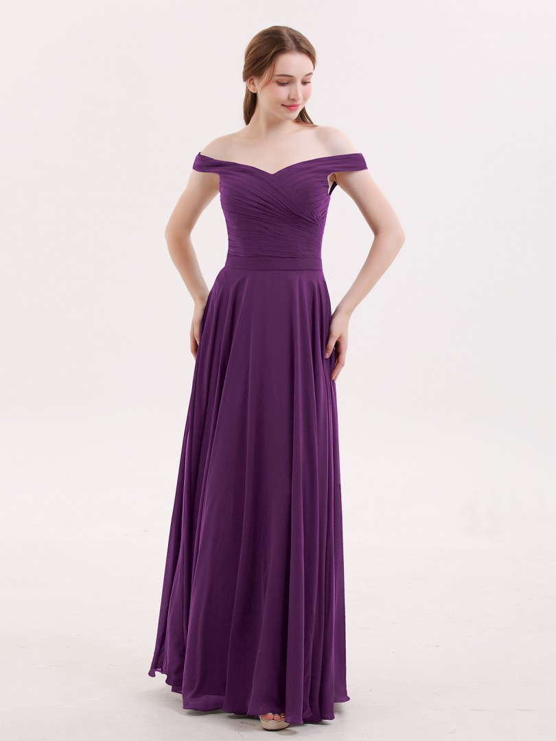 A-line Chiffon Grape Zipper Ruched, Pleated Floor-length Off-the-shoulder Sleeveless Chiffon Bridesmaid Dresses