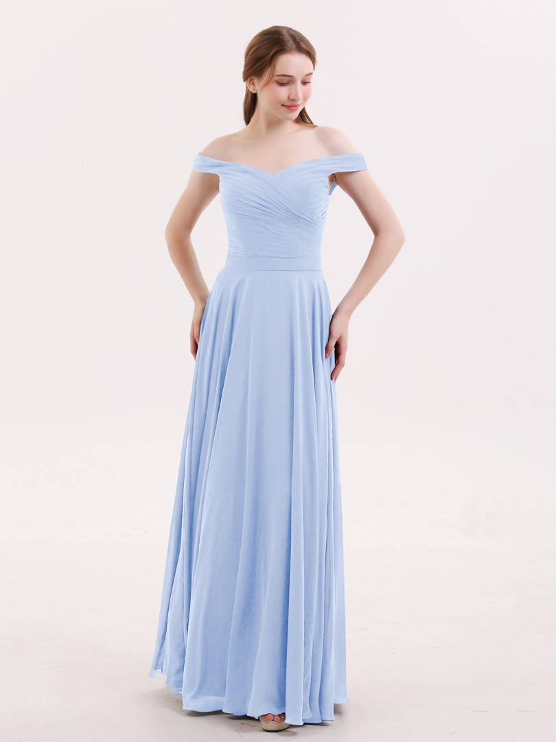A-line Chiffon Grape Zipper Ruched, Pleated Floor-length Off-the-shoulder Sleeveless Long Bridesmaid Dresses