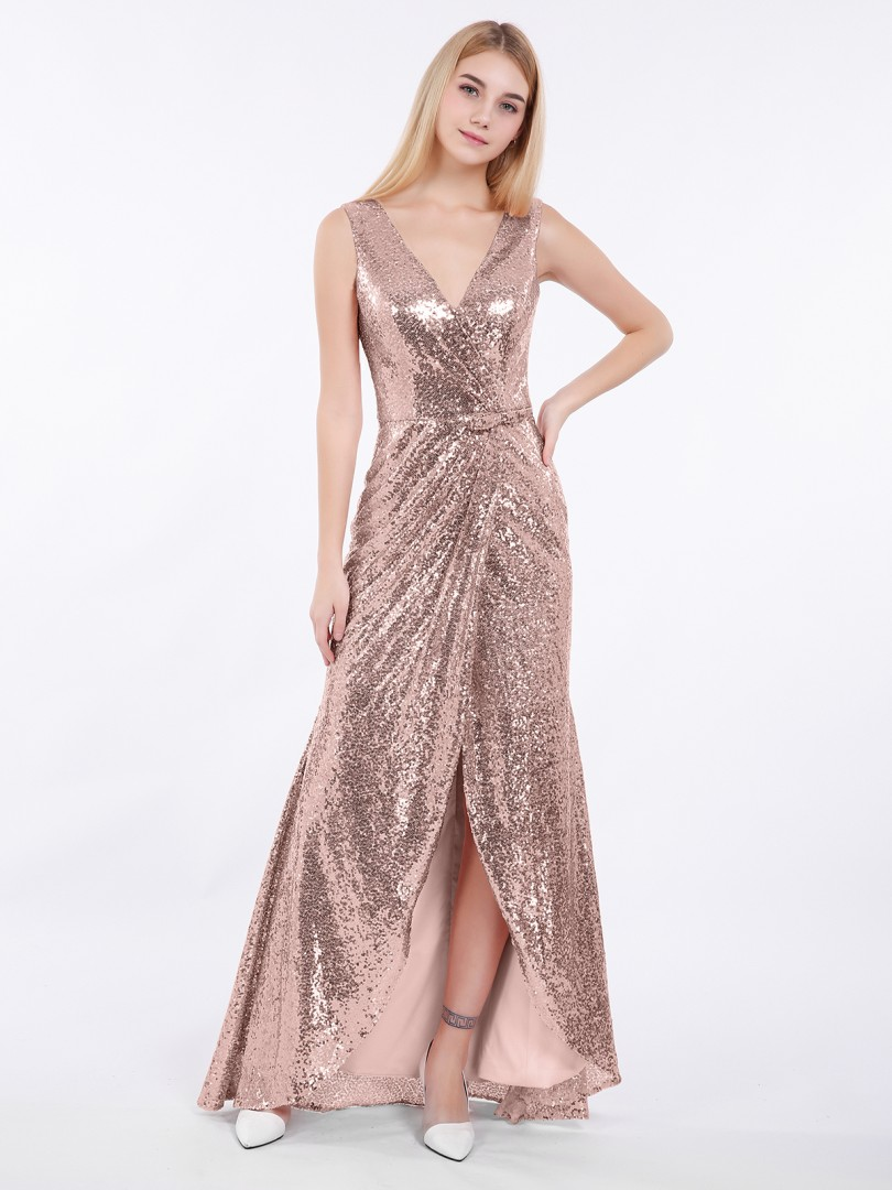 Sheath/Column Sequin Rose Gold Zipper Bow, Ruched Asymmetrical V-neck Sleeveless New Arrivals