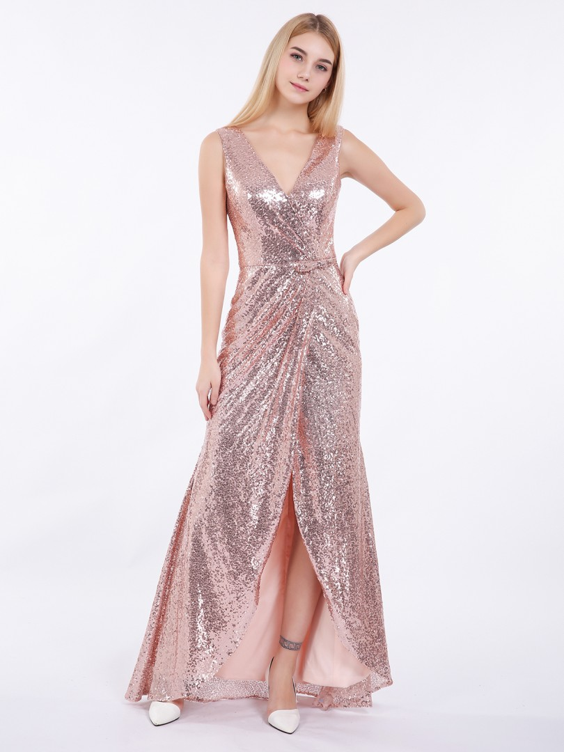 Sheath/Column Sequin Rose Gold Zipper Bow, Ruched Asymmetrical V-neck Sleeveless Sexy Prom Dresses