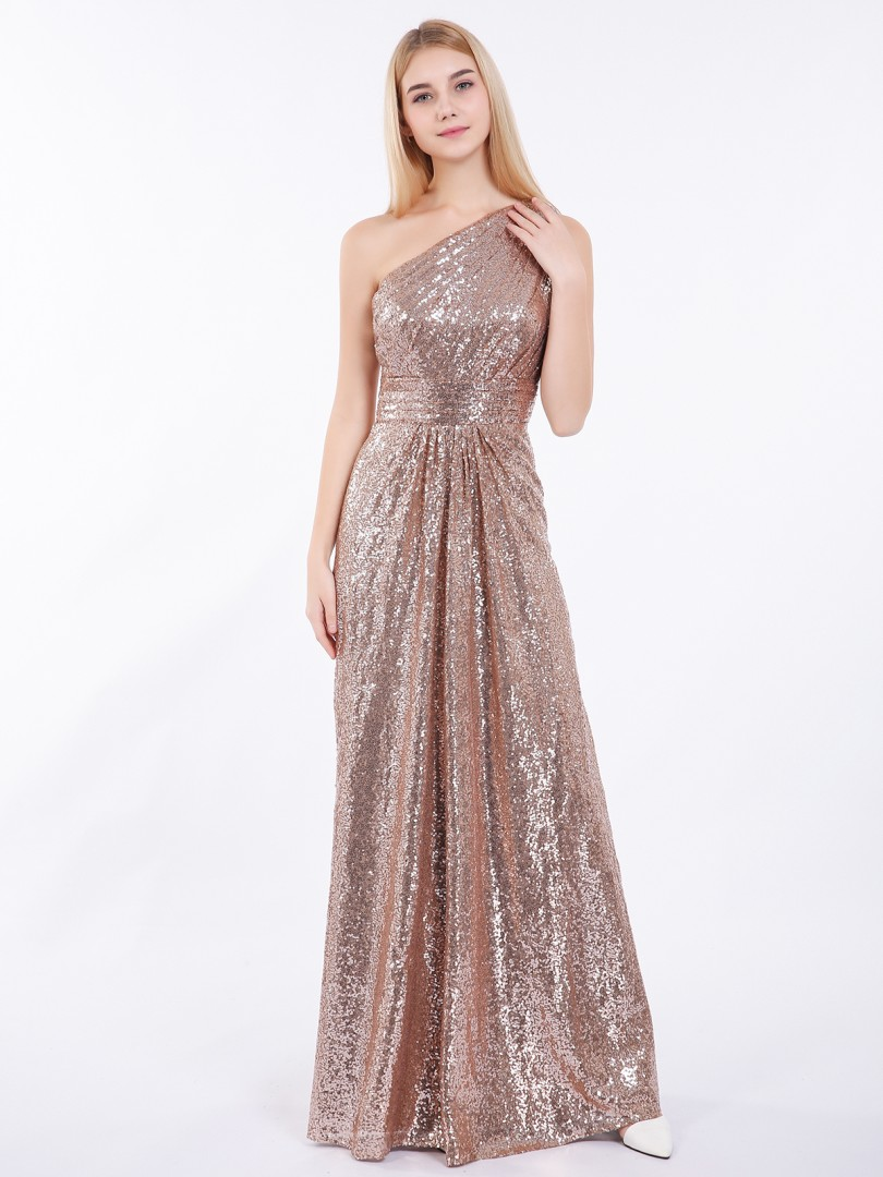 Sheath/Column Sequin Metallic Gold Zipper Ruched, Pleated Floor-length One Shoulder Sleeveless Prom Dresses