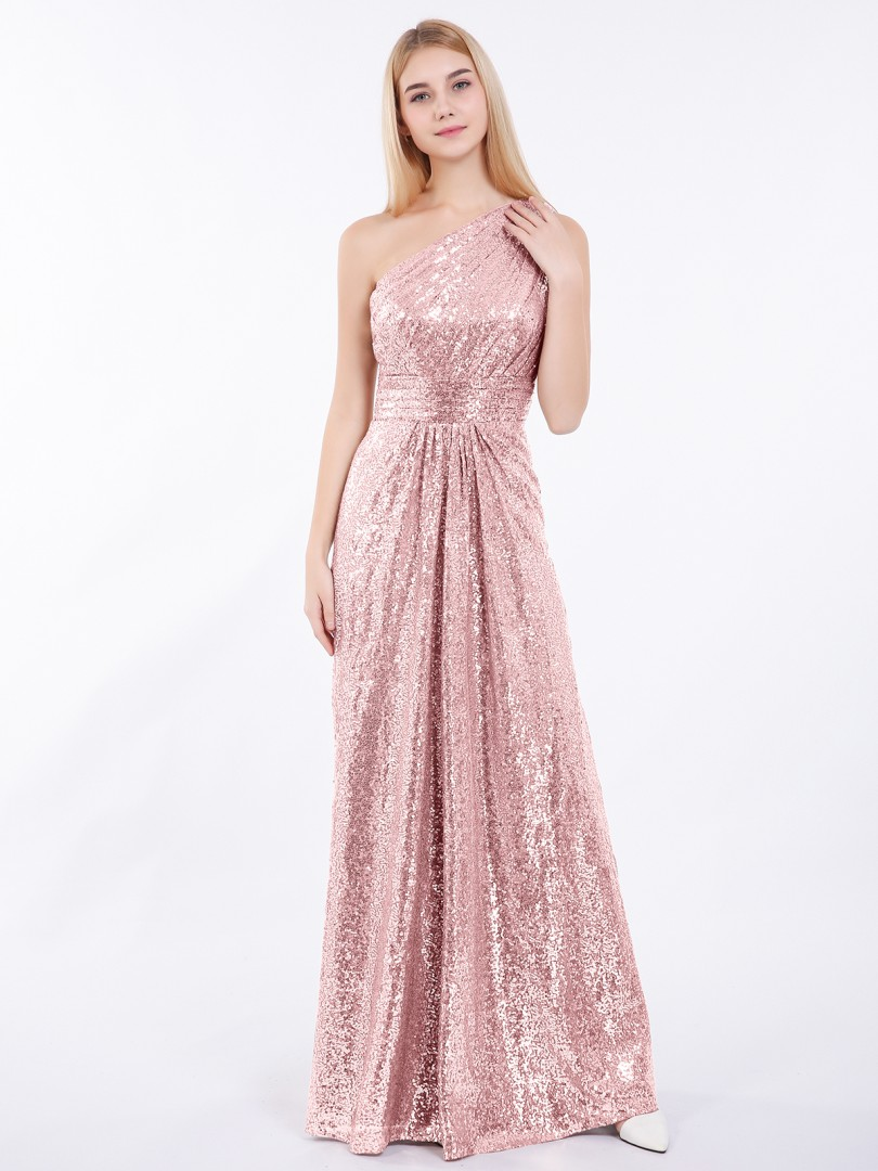 Sheath/Column Sequin Metallic Gold Zipper Ruched, Pleated Floor-length One Shoulder Sleeveless New Arrivals
