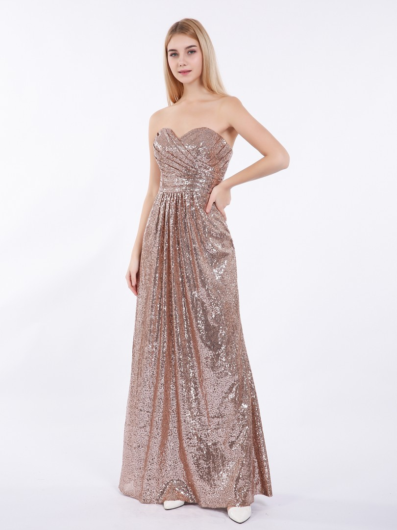 A-line Sequin Metallic Gold Zipper Pleated Floor-length Sweetheart Sleeveless Bridesmaid Dresses