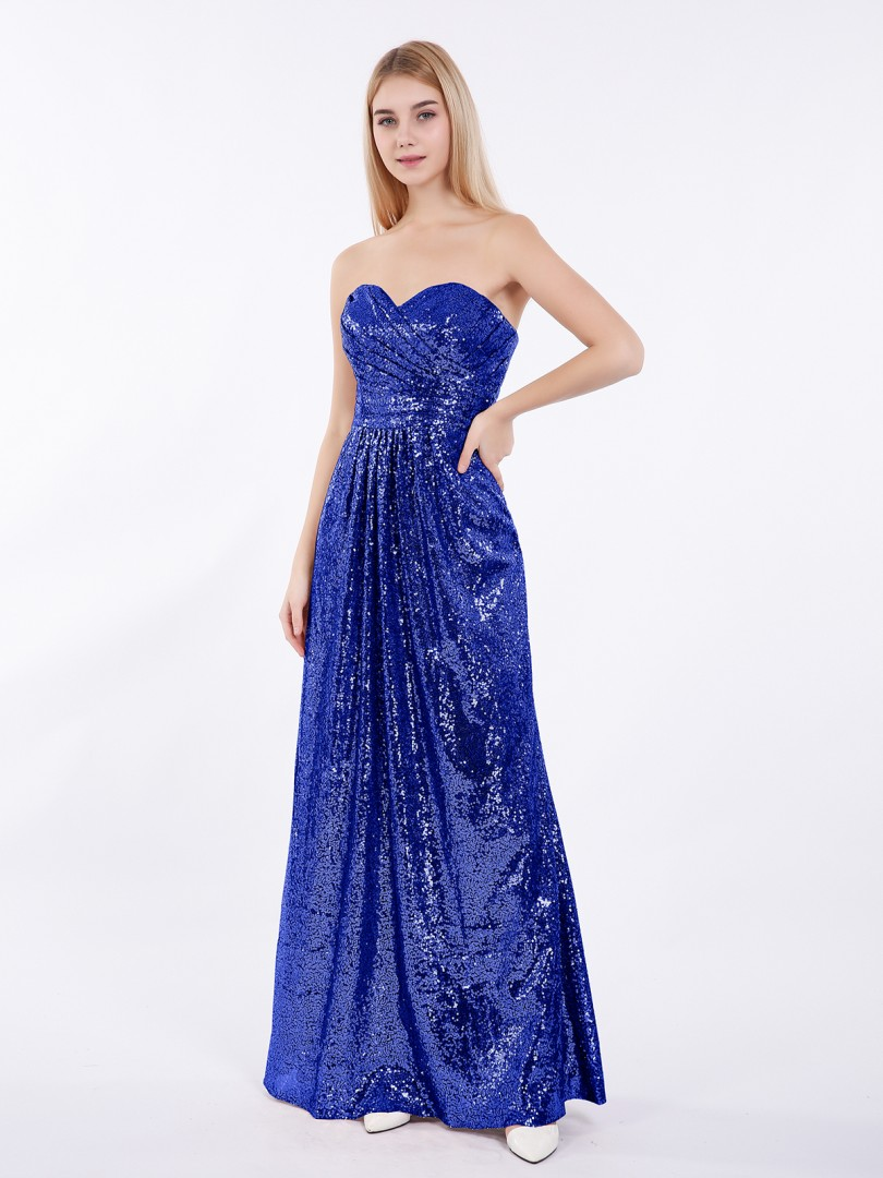 A-line Sequin Metallic Gold Zipper Pleated Floor-length Sweetheart Sleeveless Best Sellers
