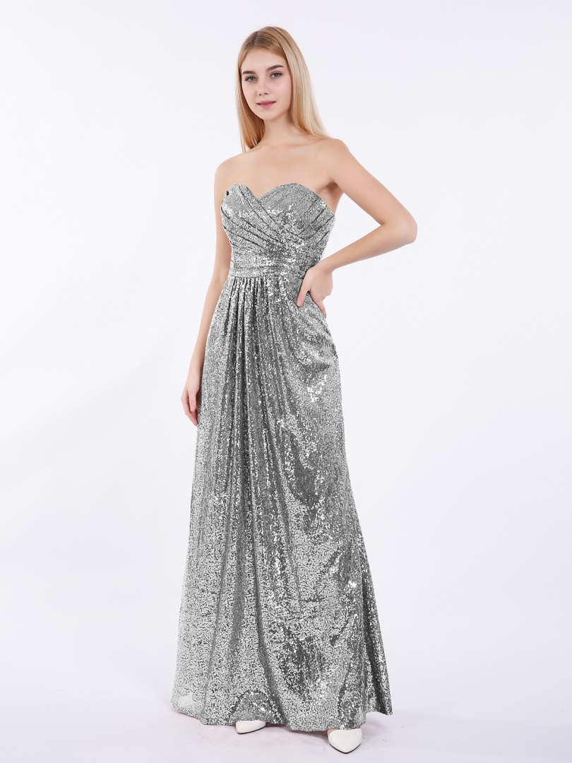A-line Sequin Metallic Gold Zipper Pleated Floor-length Sweetheart Sleeveless New Arrivals