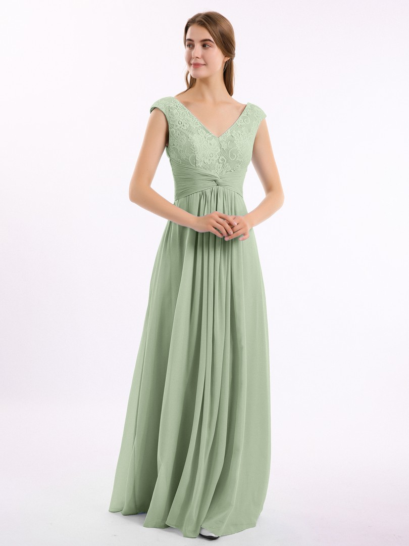 A-line Chiffon Dusty Sage Zipper Lace, Ruched, Pleated Floor-length V-neck Cap Sleeve Sleeves Bridesmaid Dresses