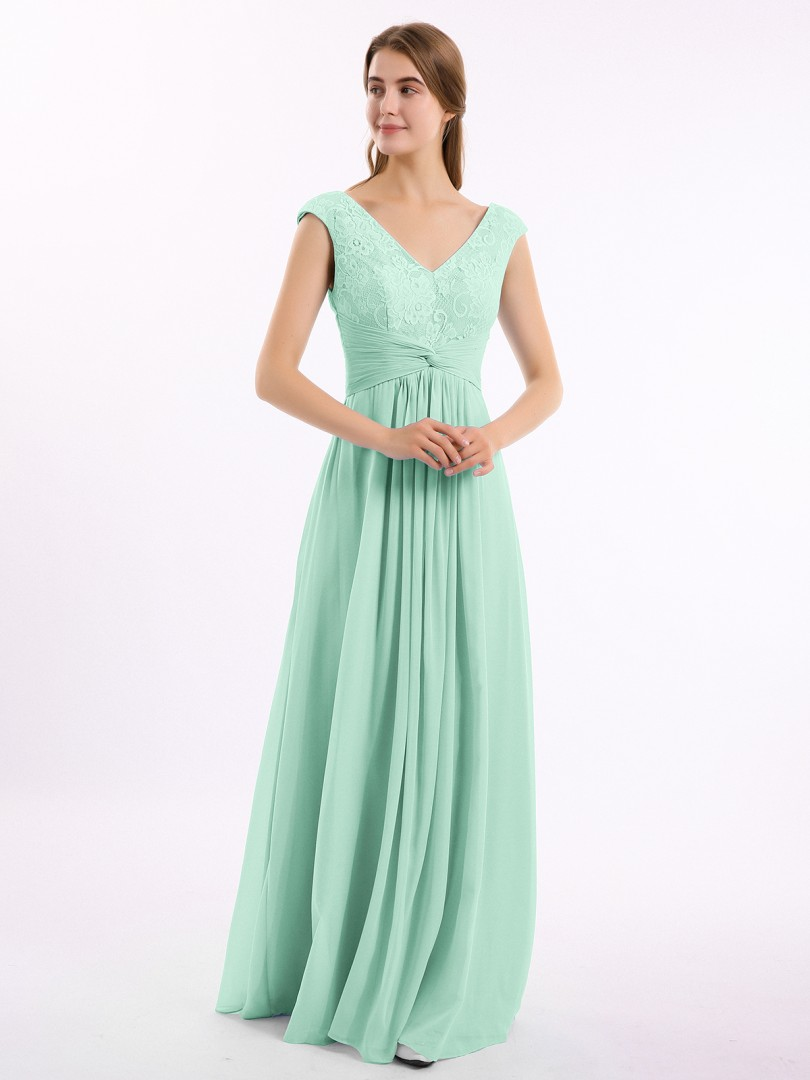 A-line Chiffon Dusty Sage Zipper Lace, Ruched, Pleated Floor-length V-neck Cap Sleeve Long Bridesmaid Dresses
