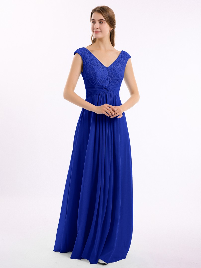 A-line Chiffon Dusty Sage Zipper Lace, Ruched, Pleated Floor-length V-neck Cap Sleeve New Arrivals