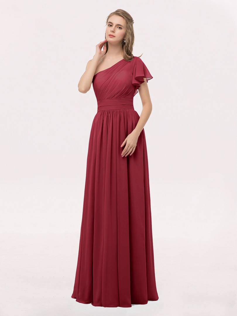 A-line Chiffon Lilac Zipper Ruffle, Ruched, Pleated Floor-length One Shoulder Short Long Bridesmaid Dresses