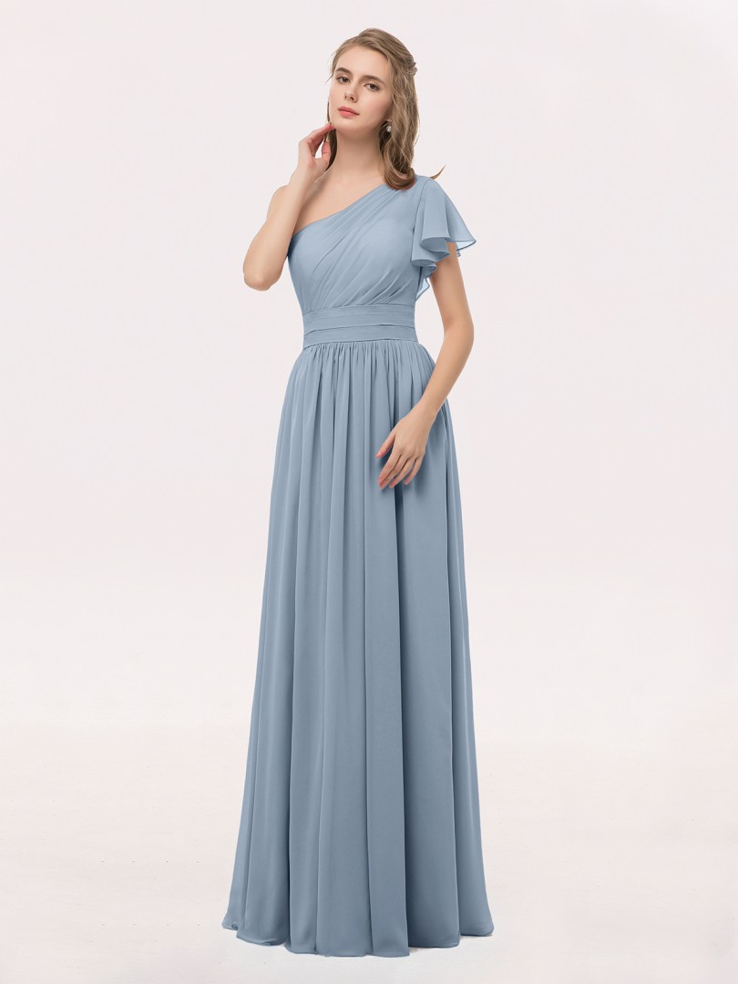 e17f21fe38 Dusty Blue Clementine One Shoulder Flutter Sleeve Chiffon Gown ...
