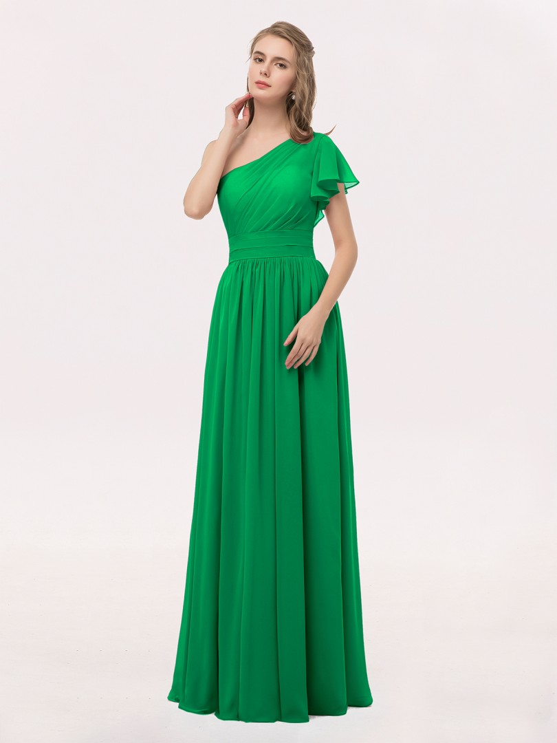f844826e389 Emerald Clementine One Shoulder Flutter Sleeve Chiffon Gown