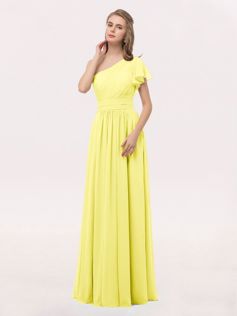 12029cb41d Lemon Clementine One Shoulder Flutter Sleeve Chiffon Gown