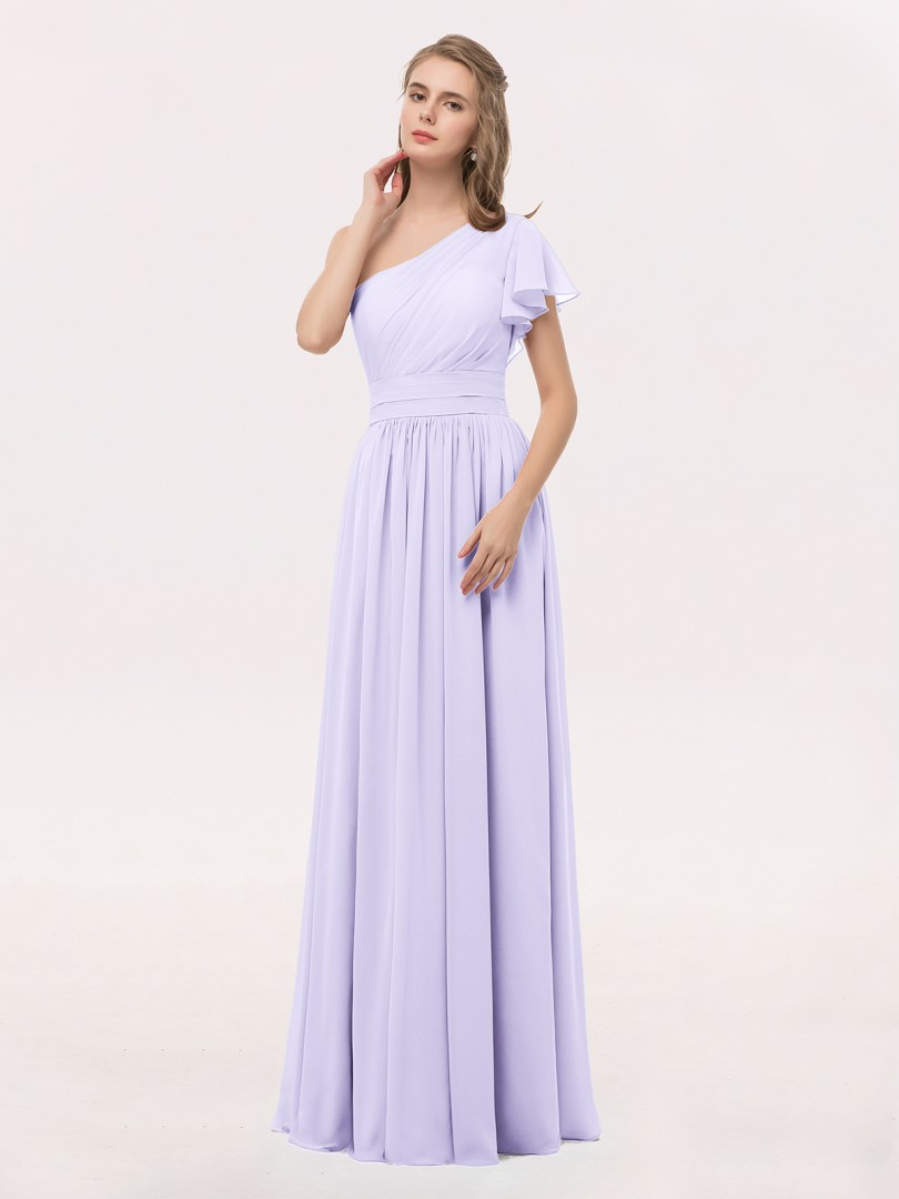 A-line Chiffon Lilac Zipper Ruffle, Ruched, Pleated Floor-length One Shoulder Short Chiffon Bridesmaid Dresses