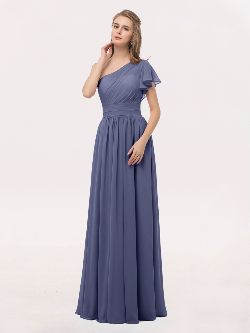 fe964cd7a7519 Stormy Clementine One Shoulder Flutter Sleeve Chiffon Gown