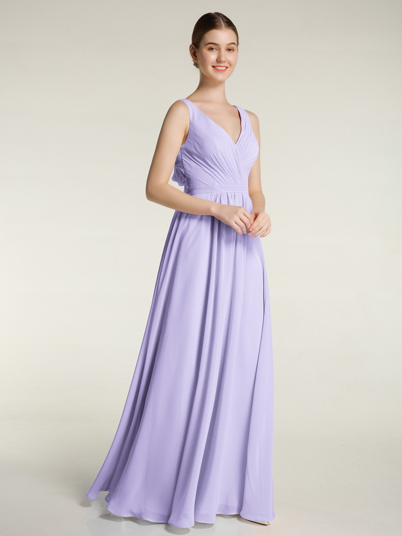 A-line Chiffon Slate Blue Backless Bow, Ruched, Pleated Floor-length V-neck Sleeveless Long Bridesmaid Dresses