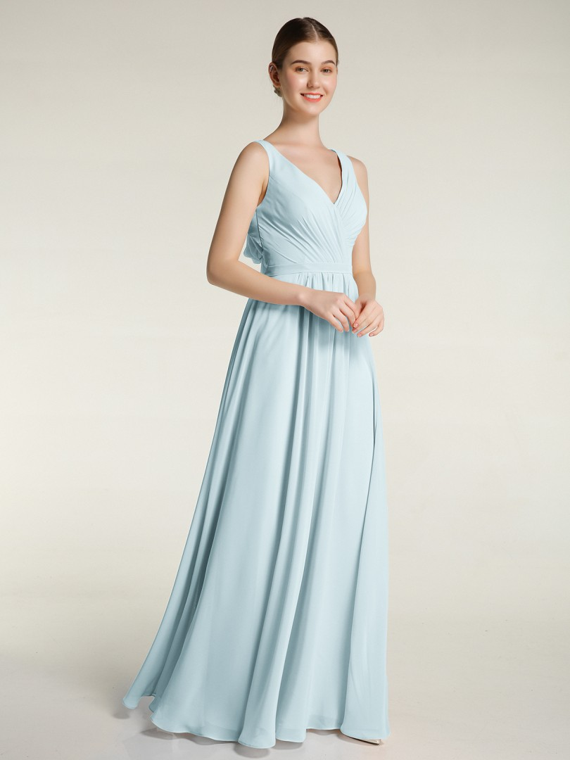 A-line Chiffon Slate Blue Backless Bow, Ruched, Pleated Floor-length V-neck Sleeveless New Arrivals