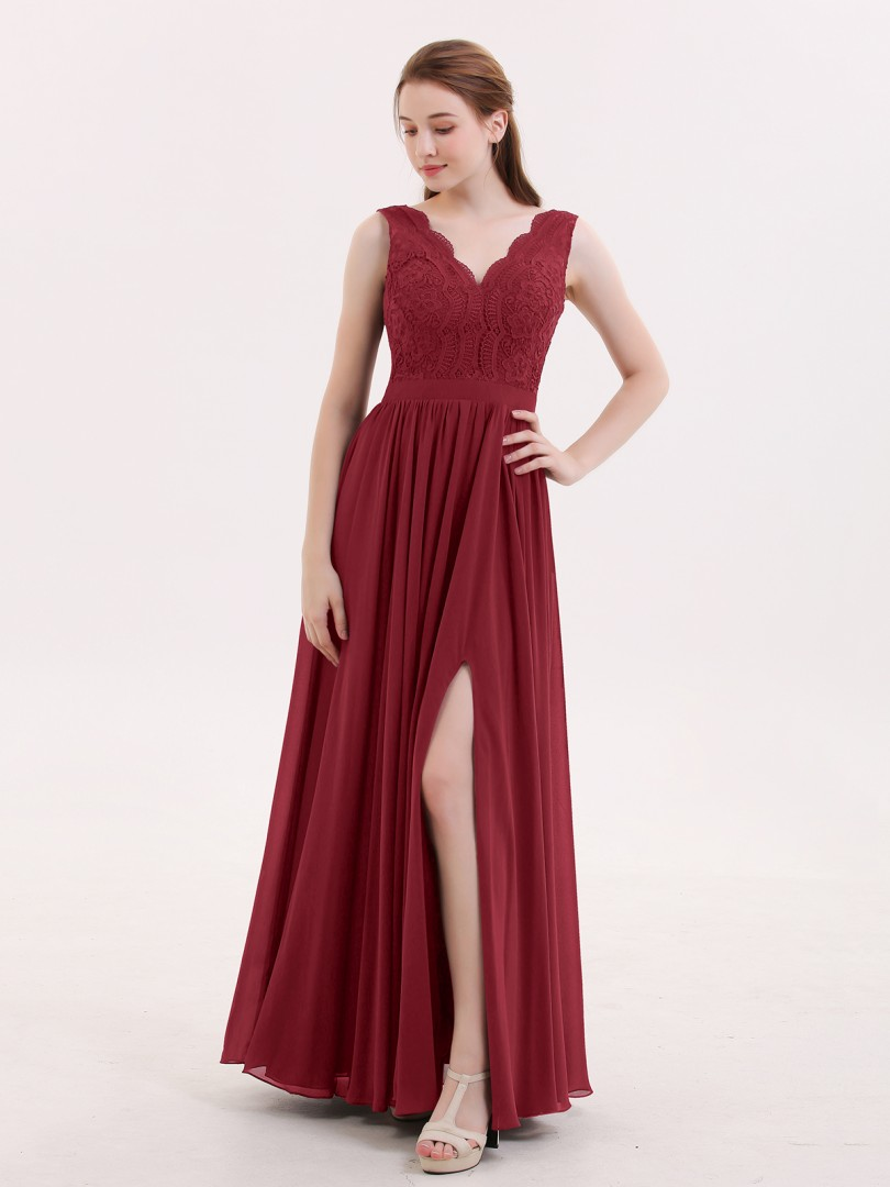 A-line Chiffon Burgundy Backless Lace, Ruched Floor-length V-neck Sleeveless Long Prom Dresses