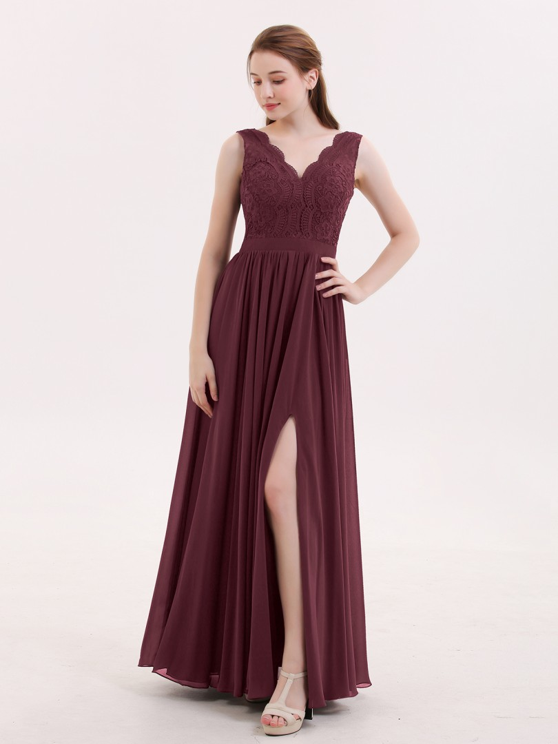 A-line Chiffon Burgundy Backless Lace, Ruched Floor-length V-neck Sleeveless Sexy Prom Dresses