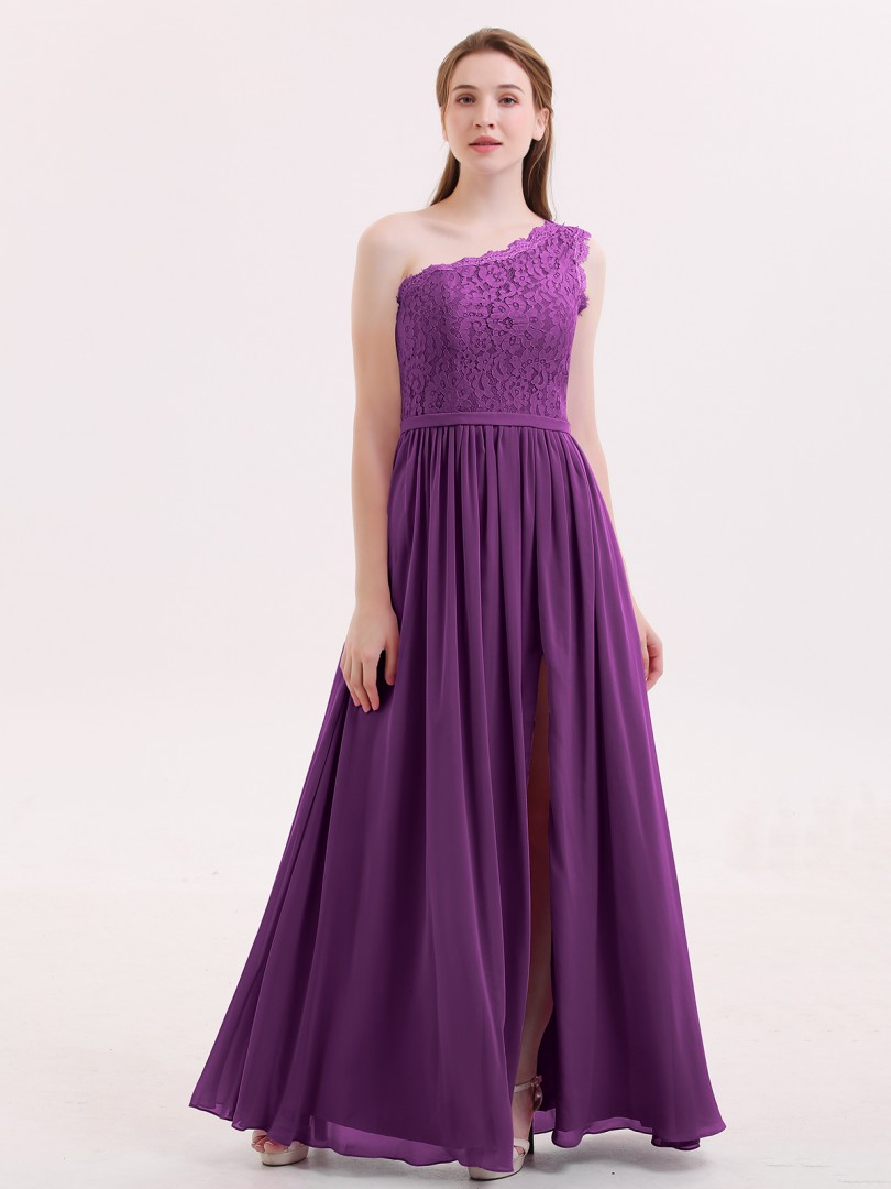A-line Chiffon Orchid Zipper Lace, Sash Floor-length One Shoulder Sleeveless Sexy Prom Dresses