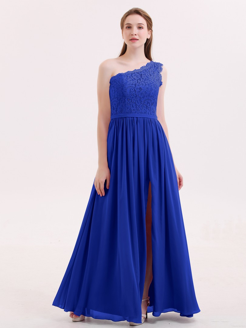 4eb8d9556ec Royal Blue Crystal One Shoulder Chiffon And Lace Dress with Slit ...