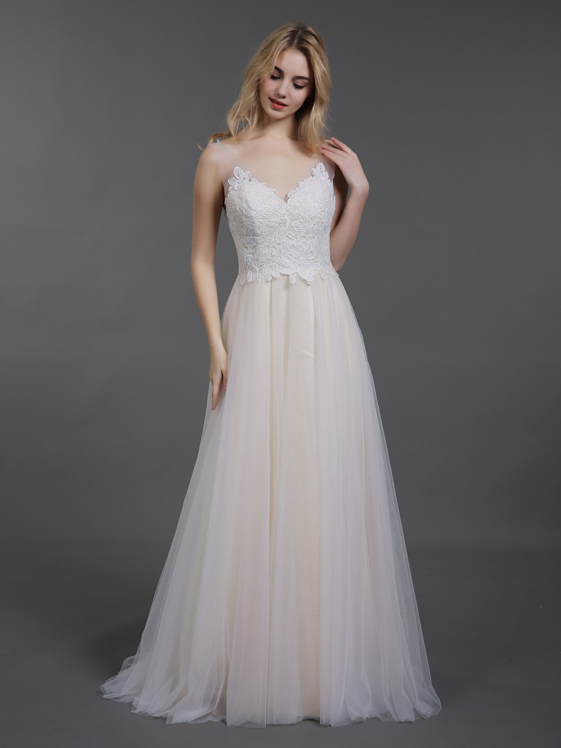 A-line Tulle Champagne Backless Appliqued Sweep/Brush Train V-neck Sleeveless Beach Wedding Dresses