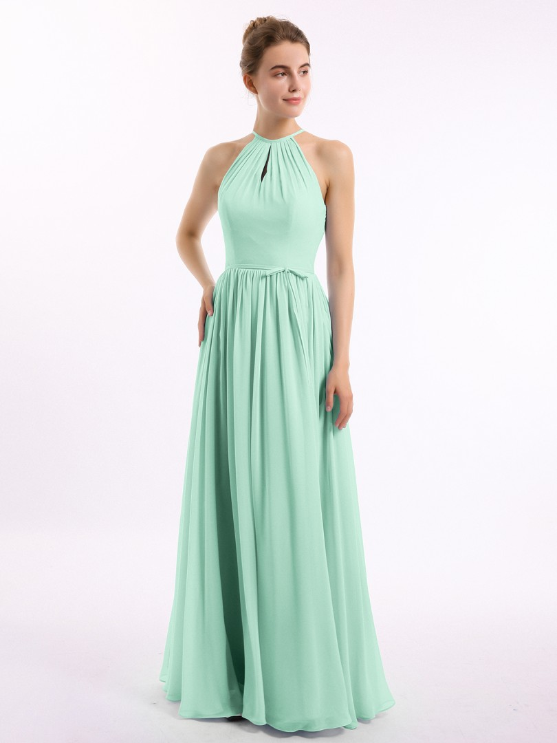 A-line Chiffon Stormy Backless Belt, Ruched Floor-length Halter Sleeveless Long Bridesmaid Dresses