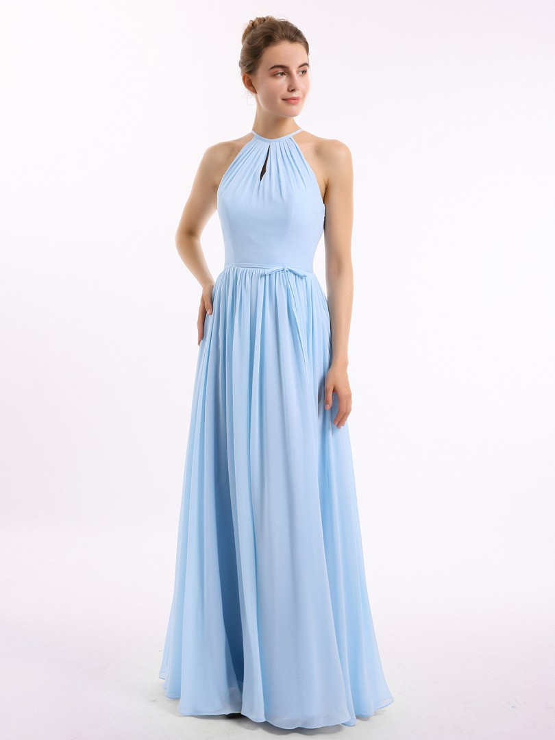 A-line Chiffon Stormy Backless Belt, Ruched Floor-length Halter Sleeveless New Arrivals