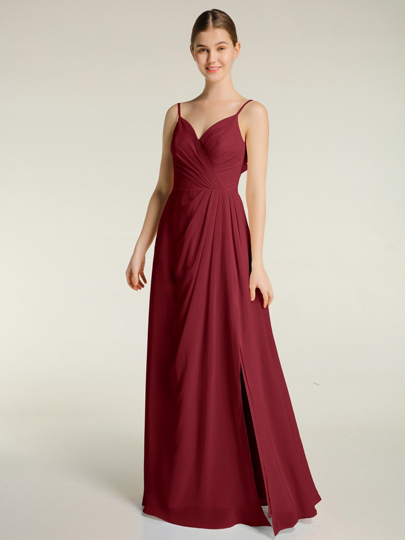 A-line Chiffon Burgundy Zipper Ruched, Pleated Floor-length V-neck Spaghetti Straps Bridesmaid Dresses