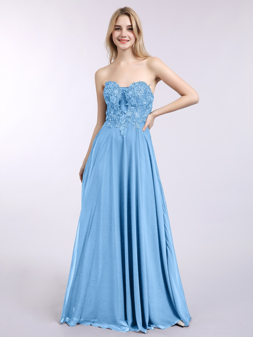 A-line Chiffon Dark Navy Zipper Appliqued Floor-length Sweetheart Sleeveless Prom Dresses
