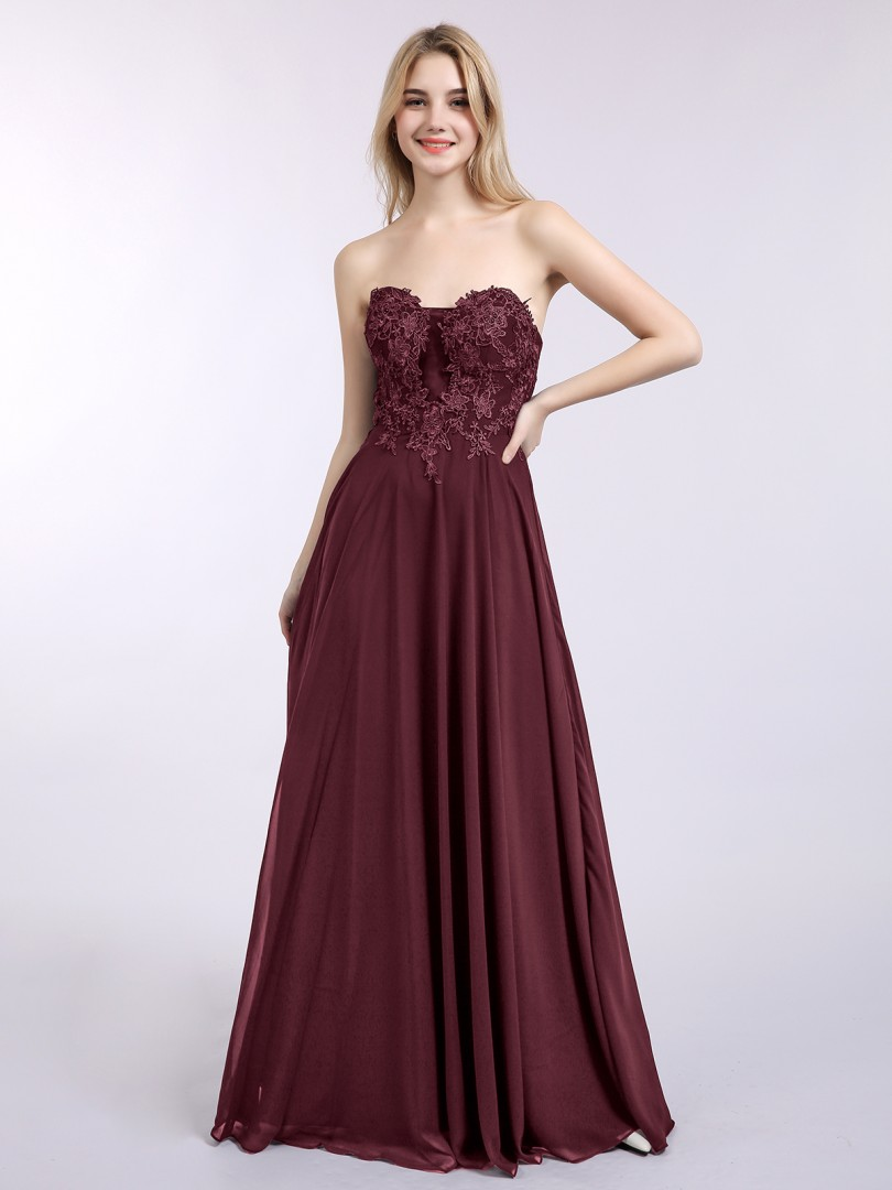 A-line Chiffon Dark Navy Zipper Appliqued Floor-length Sweetheart Sleeveless New Arrivals