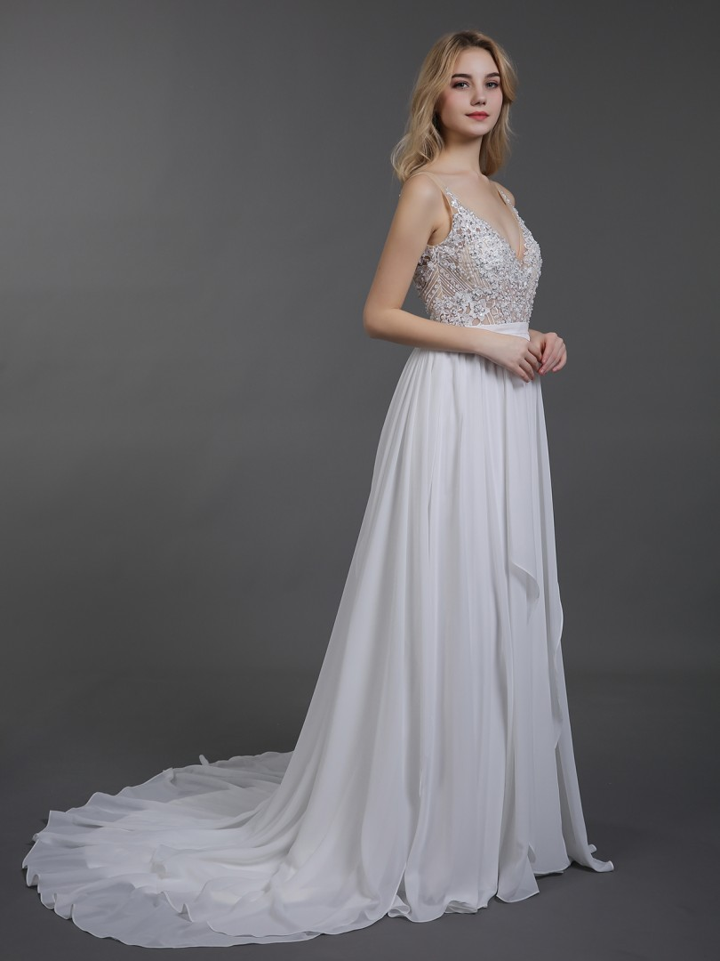 A-line Chiffon Ivory Backless Appliqued, Beaded, Pleated Sweep/Brush Train V-neck Sleeveless Beach Wedding Dresses