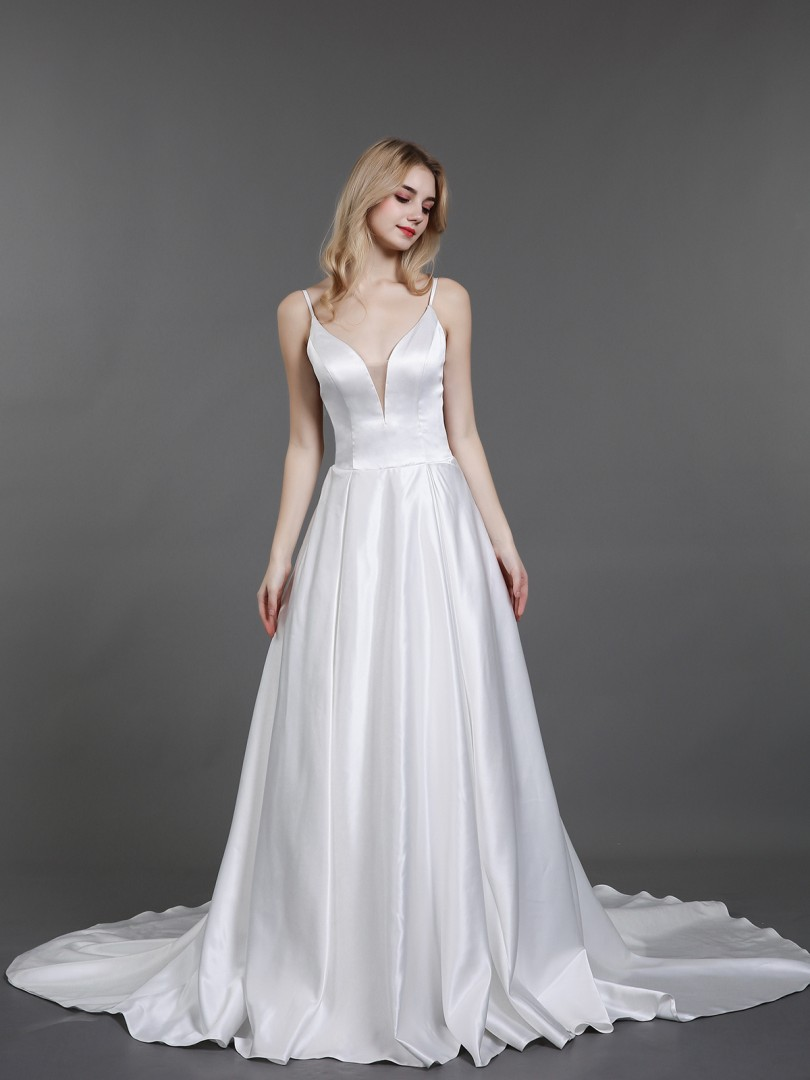 A-line Satin Ivory Zipper Button Chapel train V-neck Spaghetti Straps Simple Wedding Dresses