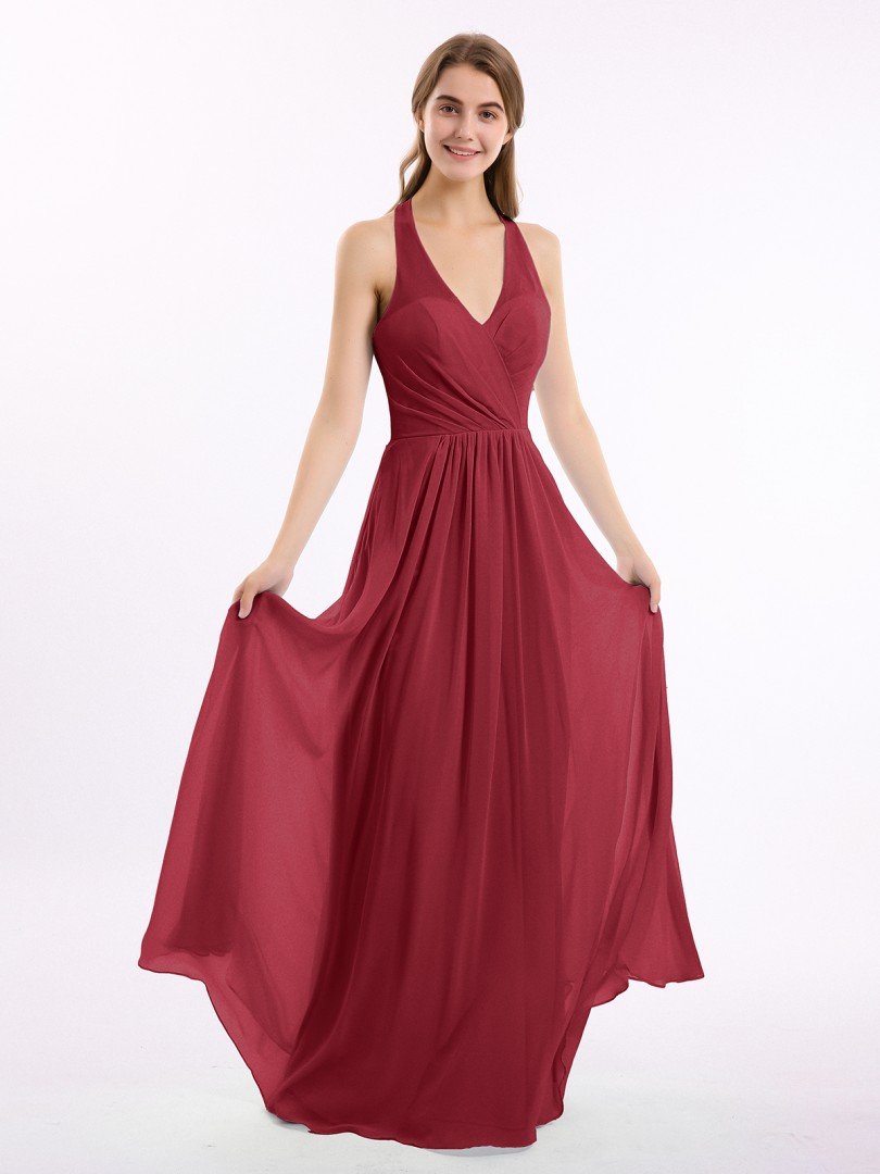 A-line Chiffon Chocolate Backless Ruched, Pleated Floor-length Halter Sleeveless Long Bridesmaid Dresses