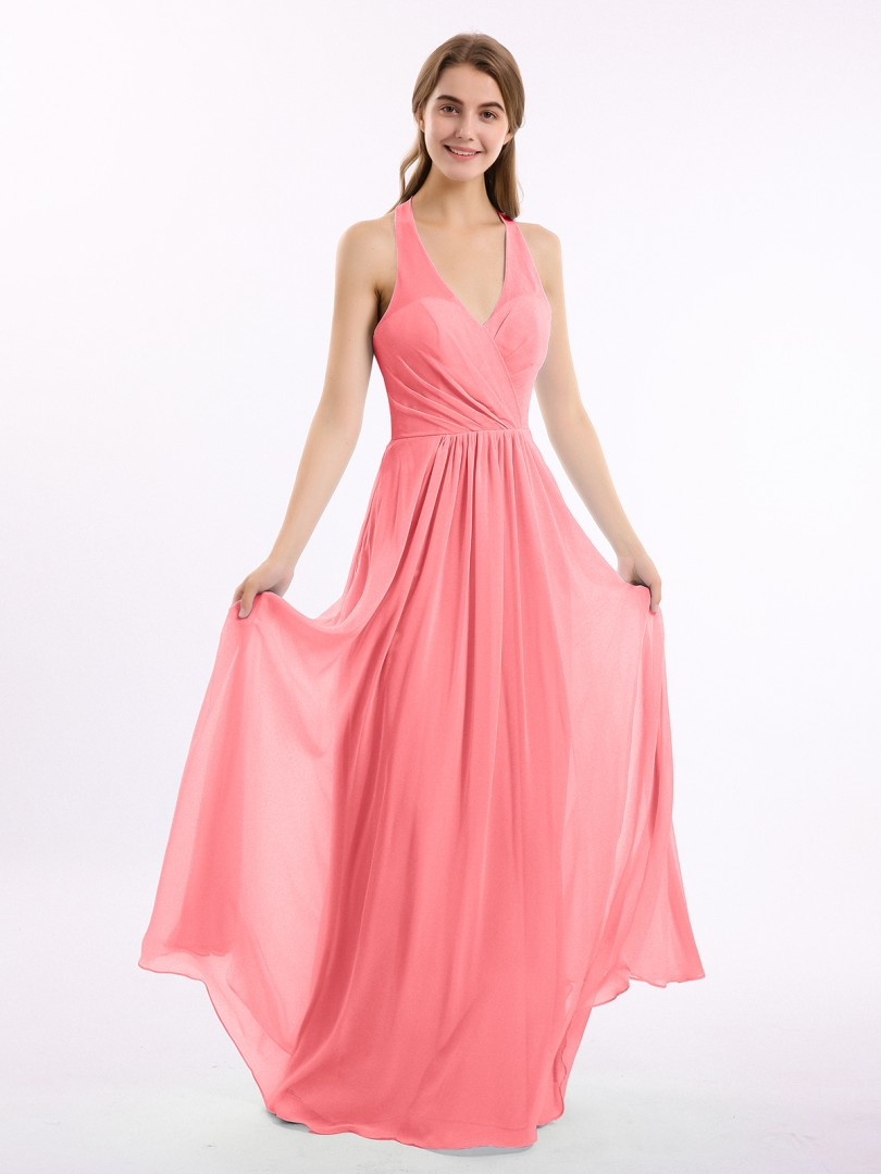 A-line Chiffon Chocolate Backless Ruched, Pleated Floor-length Halter Sleeveless New Arrivals