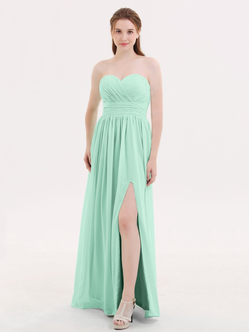 A-line Chiffon Mint Green Zipper Pleated Floor-length Sweetheart Sleeveless Long Bridesmaid Dresses