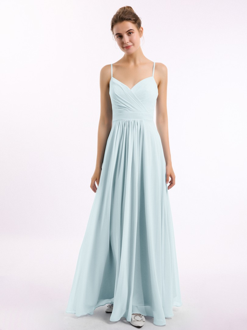 A-line Chiffon Royal Blue Zipper Ruched, Pleated Floor-length V-neck Spaghetti Straps New Arrivals