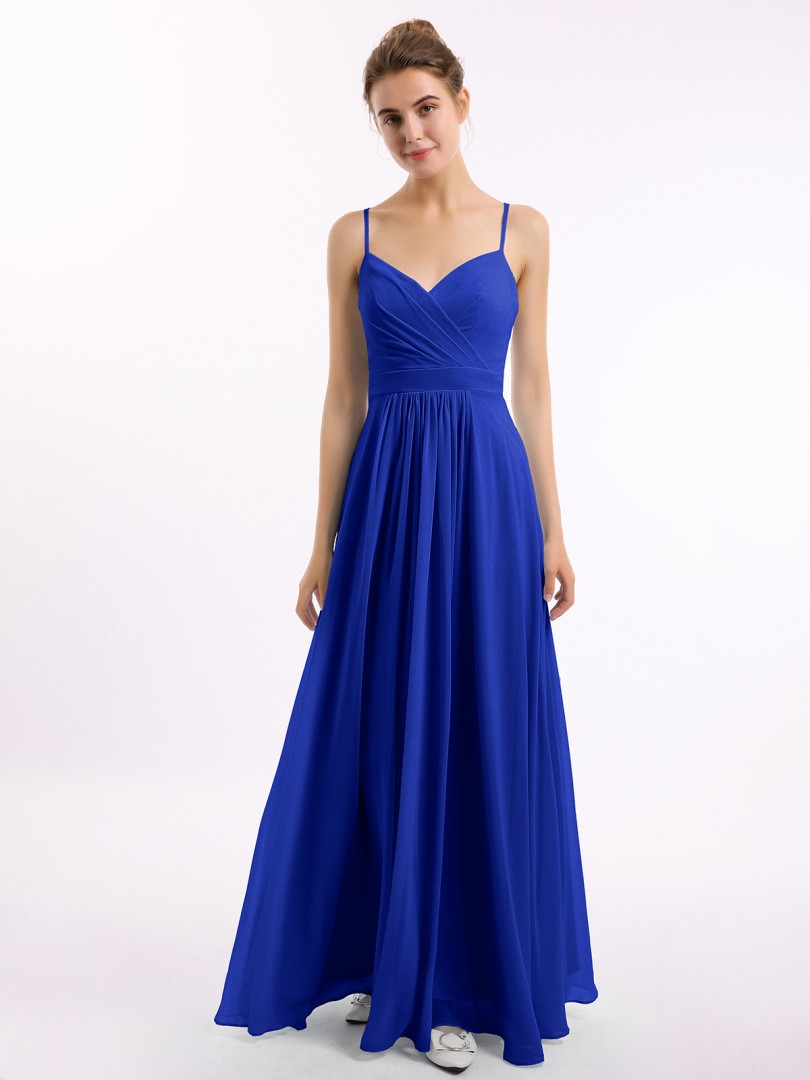 A-line Chiffon Royal Blue Zipper Ruched, Pleated Floor-length V-neck Spaghetti Straps Long Bridesmaid Dresses