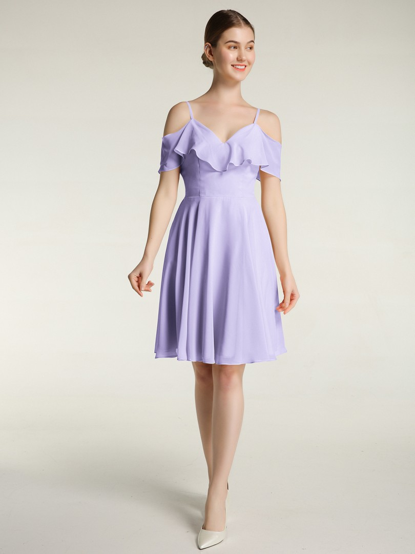A-line Chiffon Peacock Zipper Ruffle Knee-length Sweetheart Spaghetti Straps Short Bridesmaid Dresses