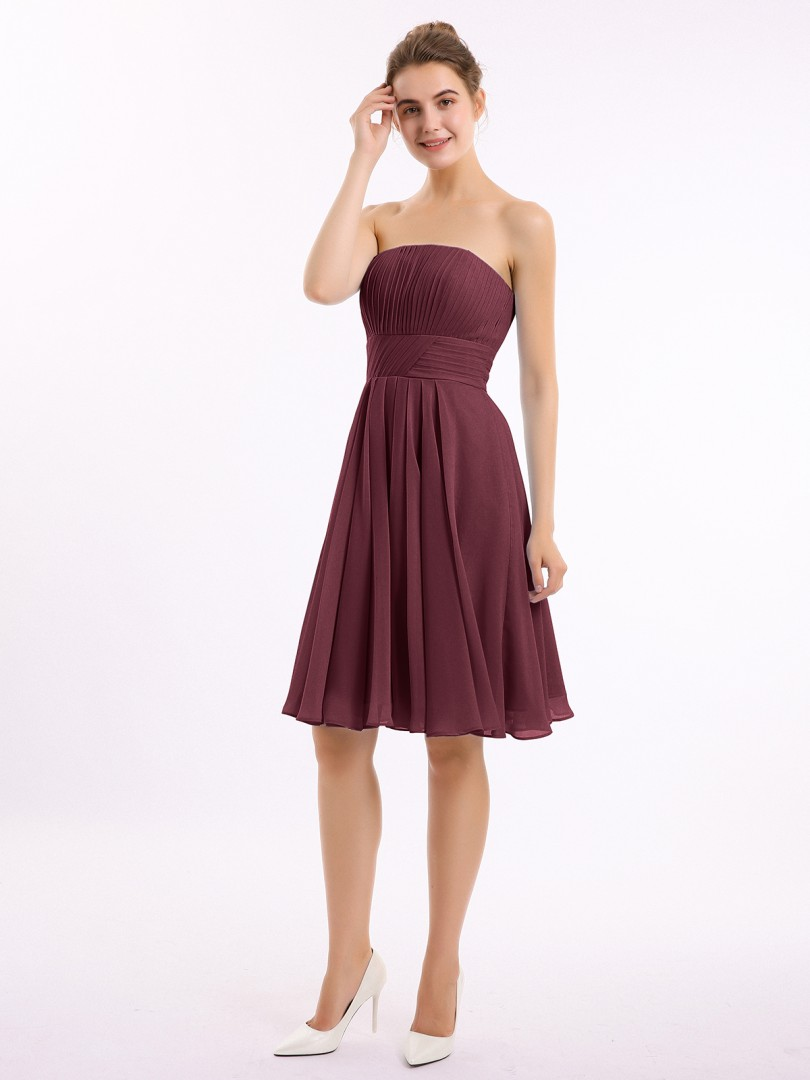 A-line Chiffon Tahiti Zipper Ruched, Pleated Knee-length Strapless Sleeveless Short Bridesmaid Dresses
