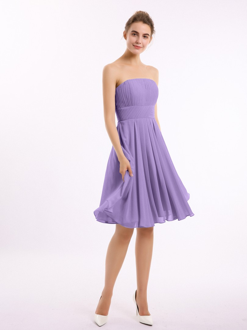 A-line Chiffon Tahiti Zipper Ruched, Pleated Knee-length Strapless Sleeveless New Arrivals