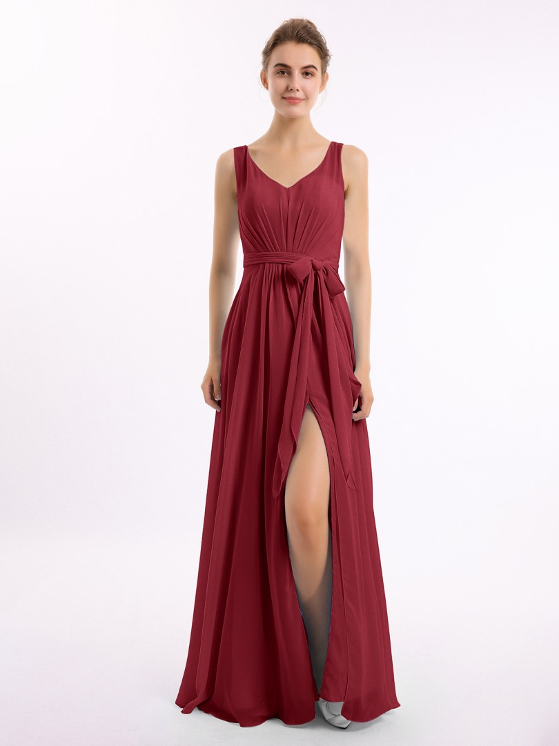 A-line Chiffon Wisteria Backless Bow, Ruched Floor-length V-neck Sleeveless Long Bridesmaid Dresses
