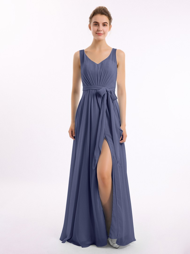 A-line Chiffon Wisteria Backless Bow, Ruched Floor-length V-neck Sleeveless New Arrivals