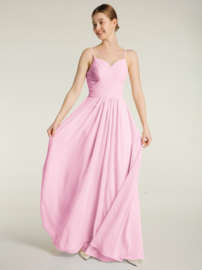 A-line Chiffon Pearl Pink Zipper Ruched, Pleated Floor-length Sweetheart Spaghetti Straps Bridesmaid Dresses