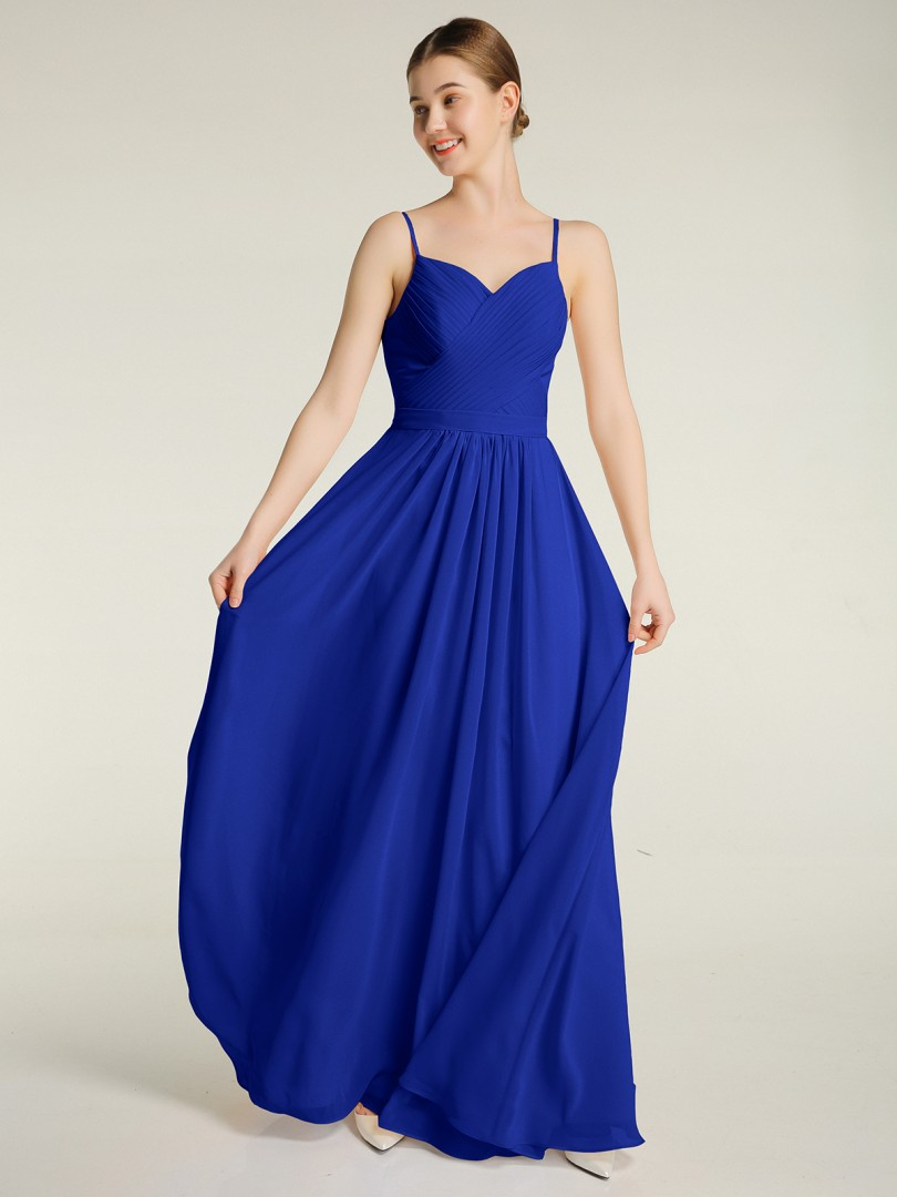 A-line Chiffon Pearl Pink Zipper Ruched, Pleated Floor-length Sweetheart Spaghetti Straps New Arrivals
