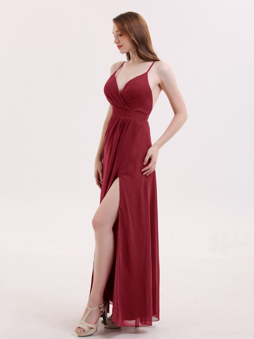 A-line Chiffon Burgundy Criss-Cross Straps Pleated Floor-length V-neck Spaghetti Straps Prom Dresses