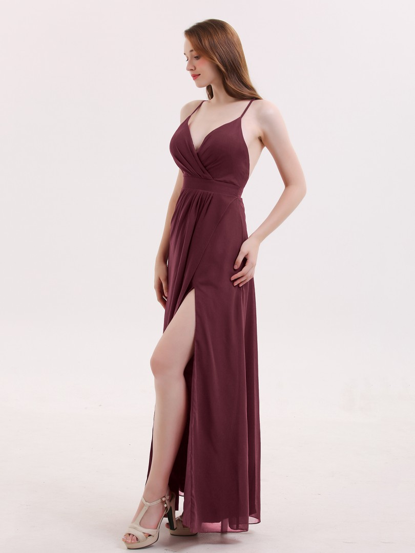 A-line Chiffon Burgundy Criss-Cross Straps Pleated Floor-length V-neck Spaghetti Straps Sexy Prom Dresses