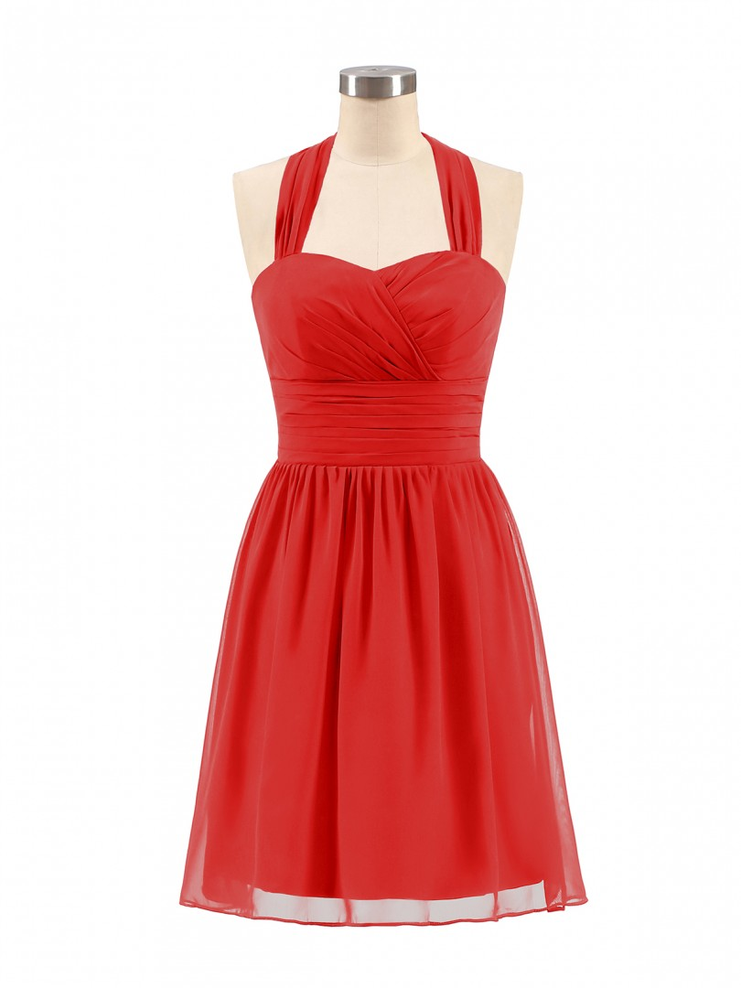 A-line Chiffon Red Zipper Ruched, Pleated Short/Mini Halter Sleeveless Short Bridesmaid Dresses