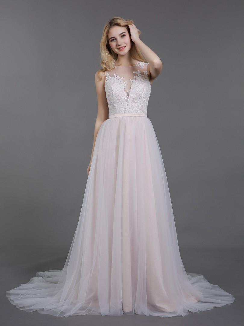 A-line Tulle Champagne Zipper Appliqued Sweep/Brush Train Illusion Sleeveless Colored Wedding Dresses
