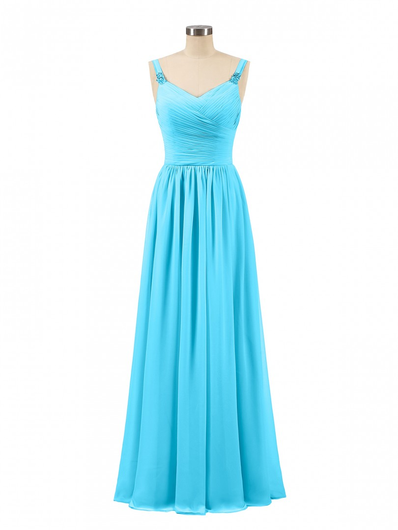A-line Chiffon Pool Zipper Beaded, Ruched, Pleated Floor-length V-neck Spaghetti Straps Bridesmaid Dresses